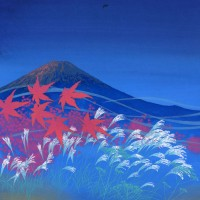 赤富士に紅葉
