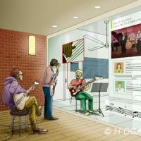 近未来の音楽スタジオ、ペン画