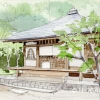 高山寺、鉛筆淡彩でスケッチ調