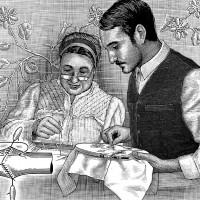 刺繍する2人