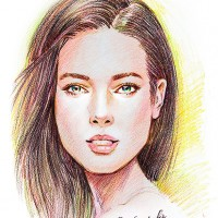 色鉛筆画 顔
