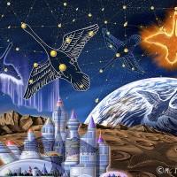 宇宙と星座・まちがいさがし見開きイラスト