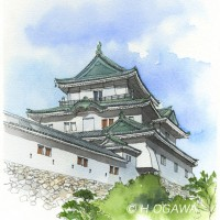 和歌山城、鉛筆淡彩でスケッチ調