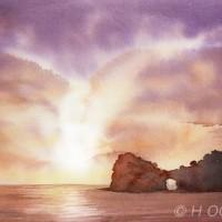 円月島の夕日