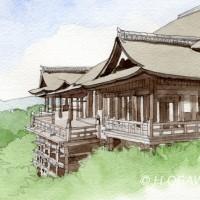清水寺、鉛筆淡彩でスケッチ調