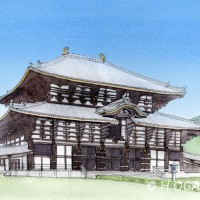 東大寺大仏殿、鉛筆淡彩でスケッチ調