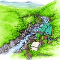 箱根 堂ヶ島温泉 対星館 水彩画風鳥瞰図