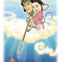 「イザナギ&イザナミ」神田山緑&田辺銀冶 似顔絵