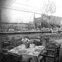 レストラン、鉛筆画