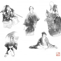 歌舞伎挿絵(モノクロ)