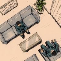 新聞小説「精鋭」挿絵121 隊長室に呼び出し