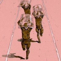 新聞小説「精鋭」挿絵 088大楯頭上携行ダッシュ