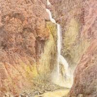 称名滝、色鉛筆画