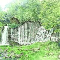 白糸の滝、色鉛筆画
