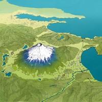 真西からの富士山俯瞰図