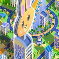 町並イラスト・ウサギのビル