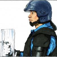 新聞小説「精鋭」挿絵113 フル装備訓練一位