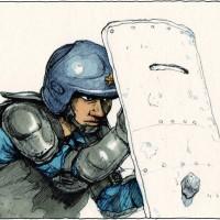 新聞小説「精鋭」挿絵 101対投石訓練