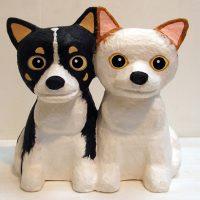 犬の灯り02 和紙の張り子 チワワ