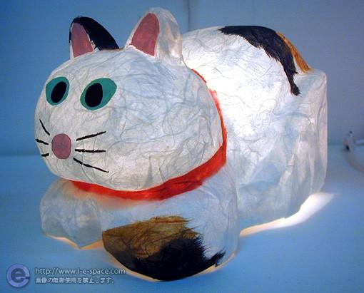 猫の灯り 張り子 三毛