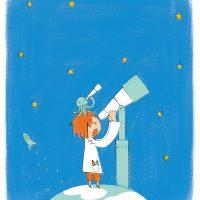 望遠鏡と男の子