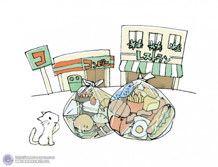 コンビニ、レストランとゴミ
