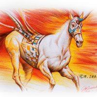 サイボーグの馬・色鉛筆画