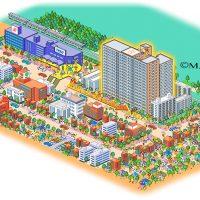 街並イラスト・マンションと周辺環境