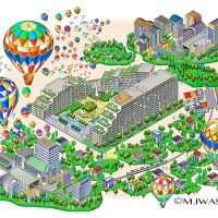 街並イラスト・マンションと風景イメージ