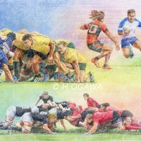 Rugby、 Colored pencil drawing