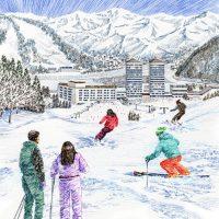 ボールペン画、1980年スキーリゾート
