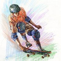 ボールペン画スポーツイラスト
